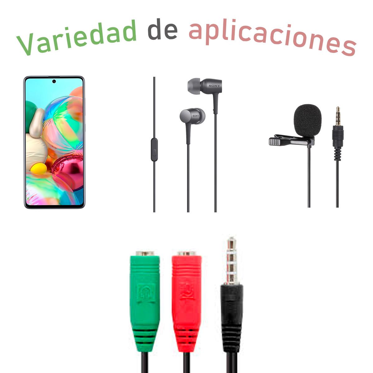 Cable Adaptador Jack Auxiliar 3.5mm Sonido Micrófono Audio