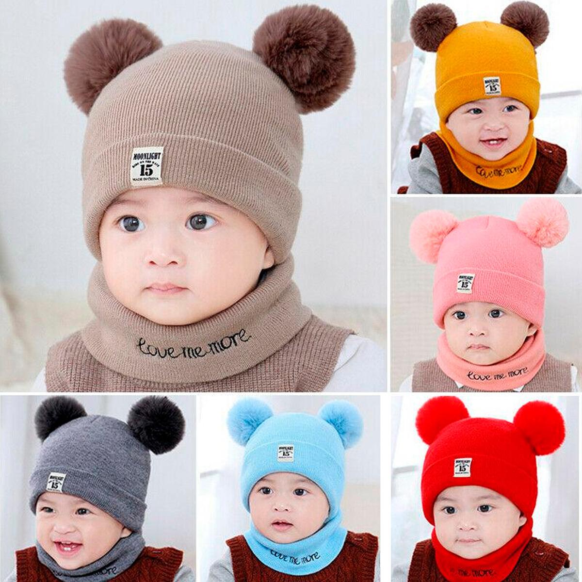Conjunto Gorros Bufanda De Bebé Redondos Oso Invierno