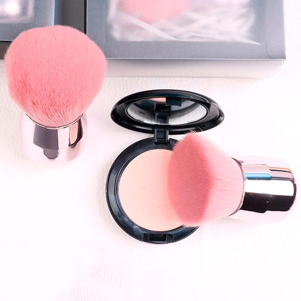 Brocha Kabuki Color Rosa Para Maquillaje, Redonda O Plana