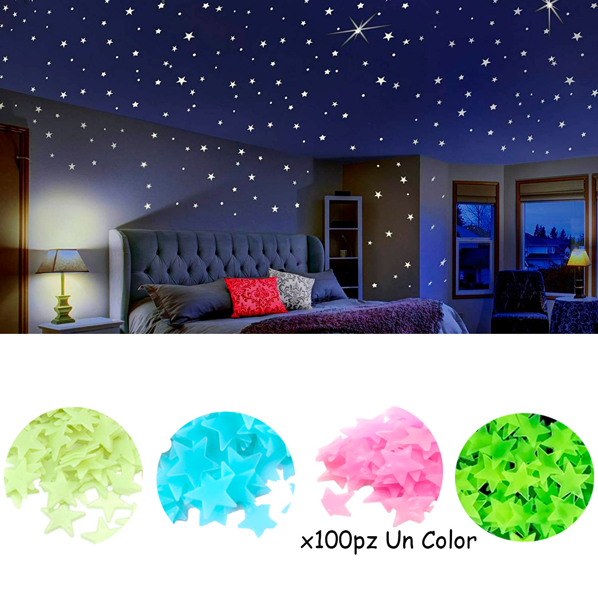 100 Estrellas Pared Stickers Neon Fosforescente Brilla Noche