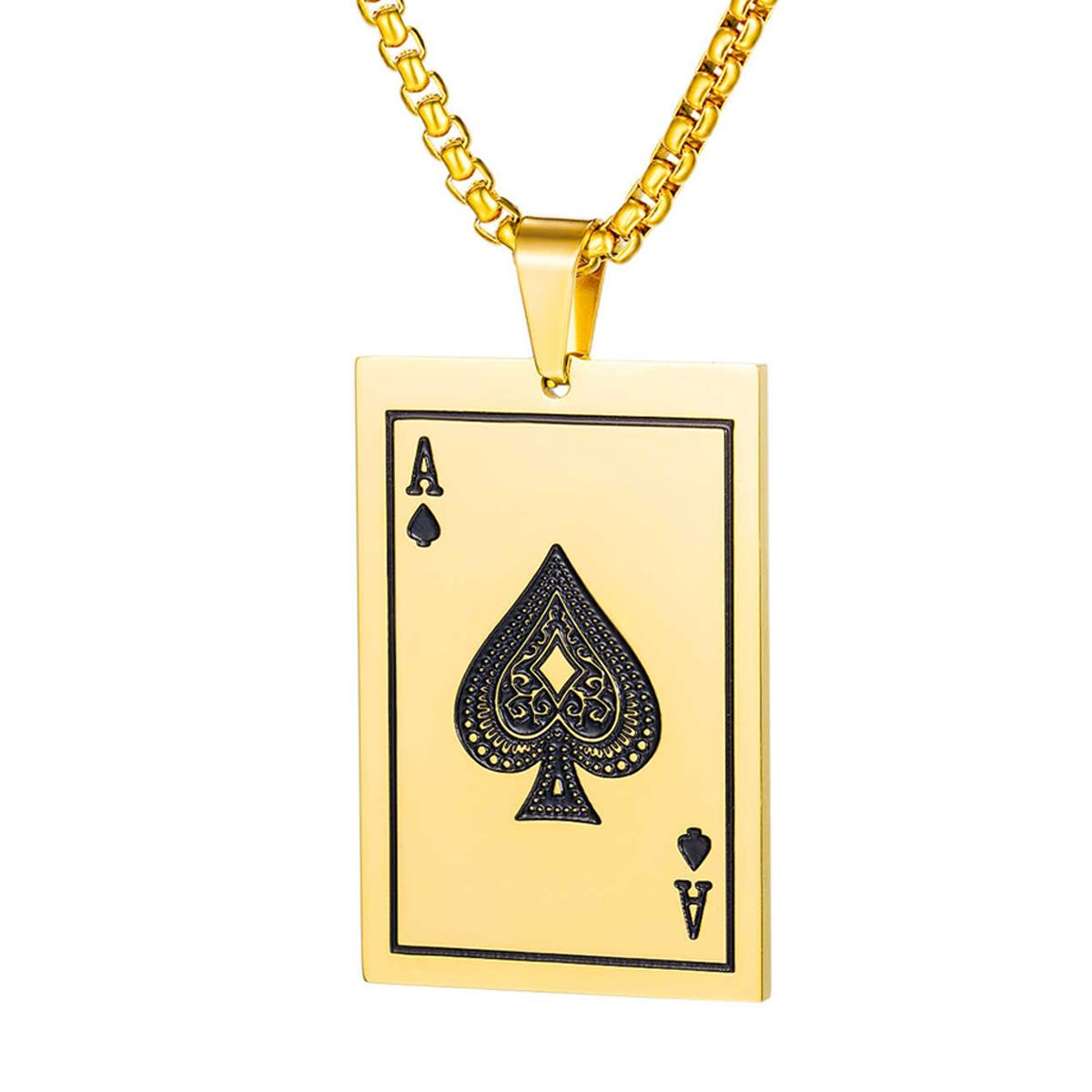 Collar Dorado Carta Poker Carta As Buena Suerte Acero