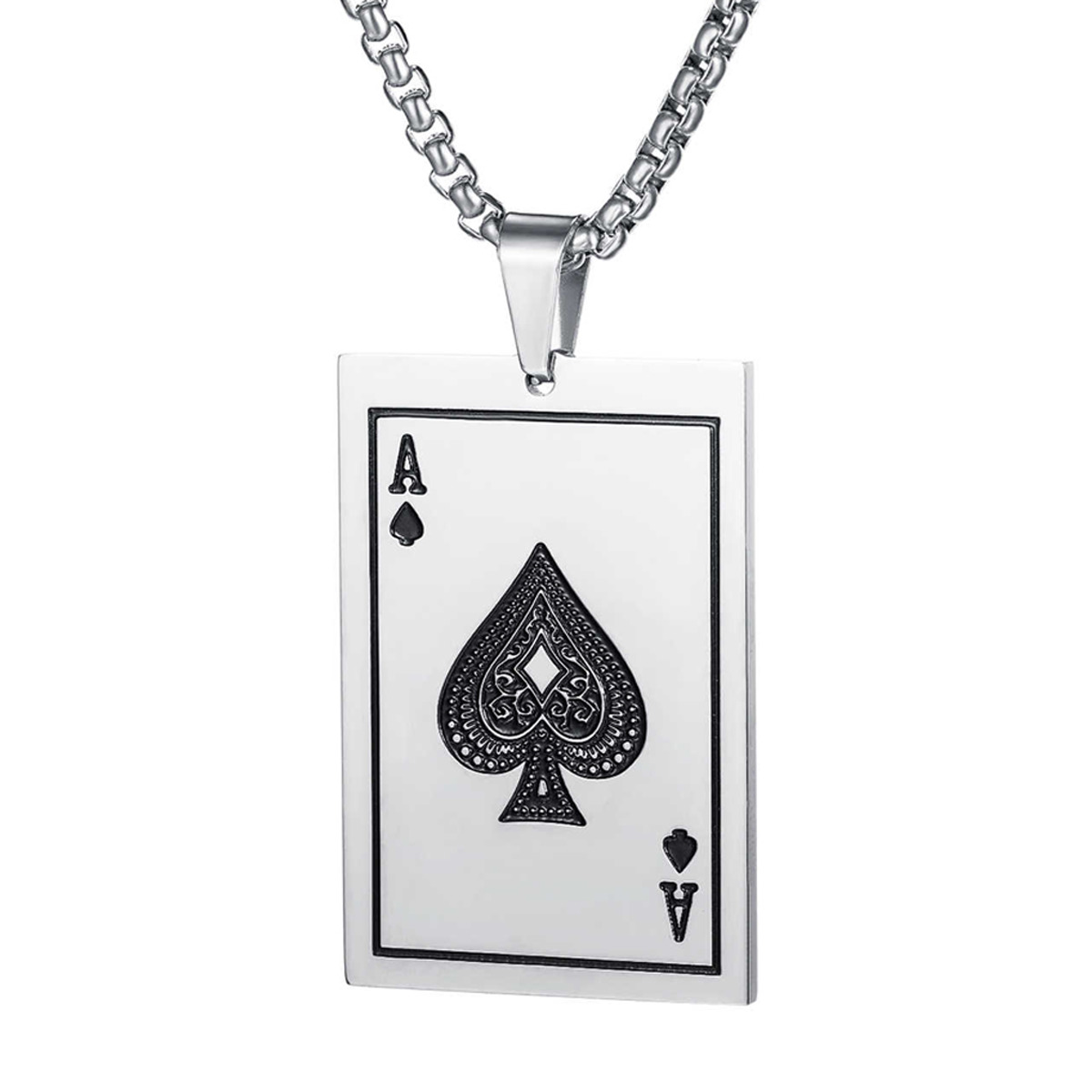 Collar Carta Poker Carta As Buena Suerte Acero Inoxidable Plateado