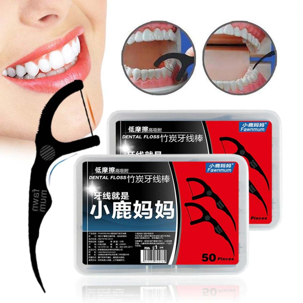 Hilo Dental Con Palillo Limpieza Exacta Fawnmum 50 Unids