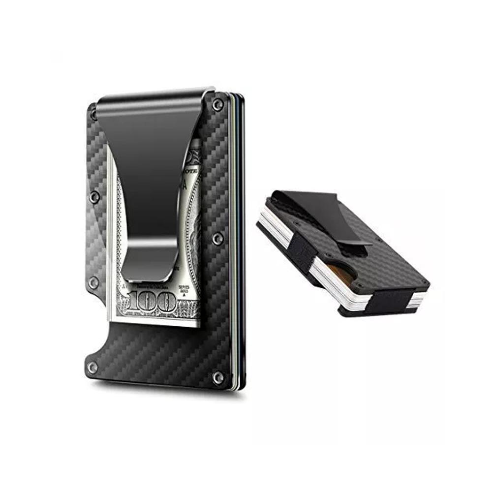 Tarjetero Metálico Con Clip Para Billetes RFID Negro Con Estampado