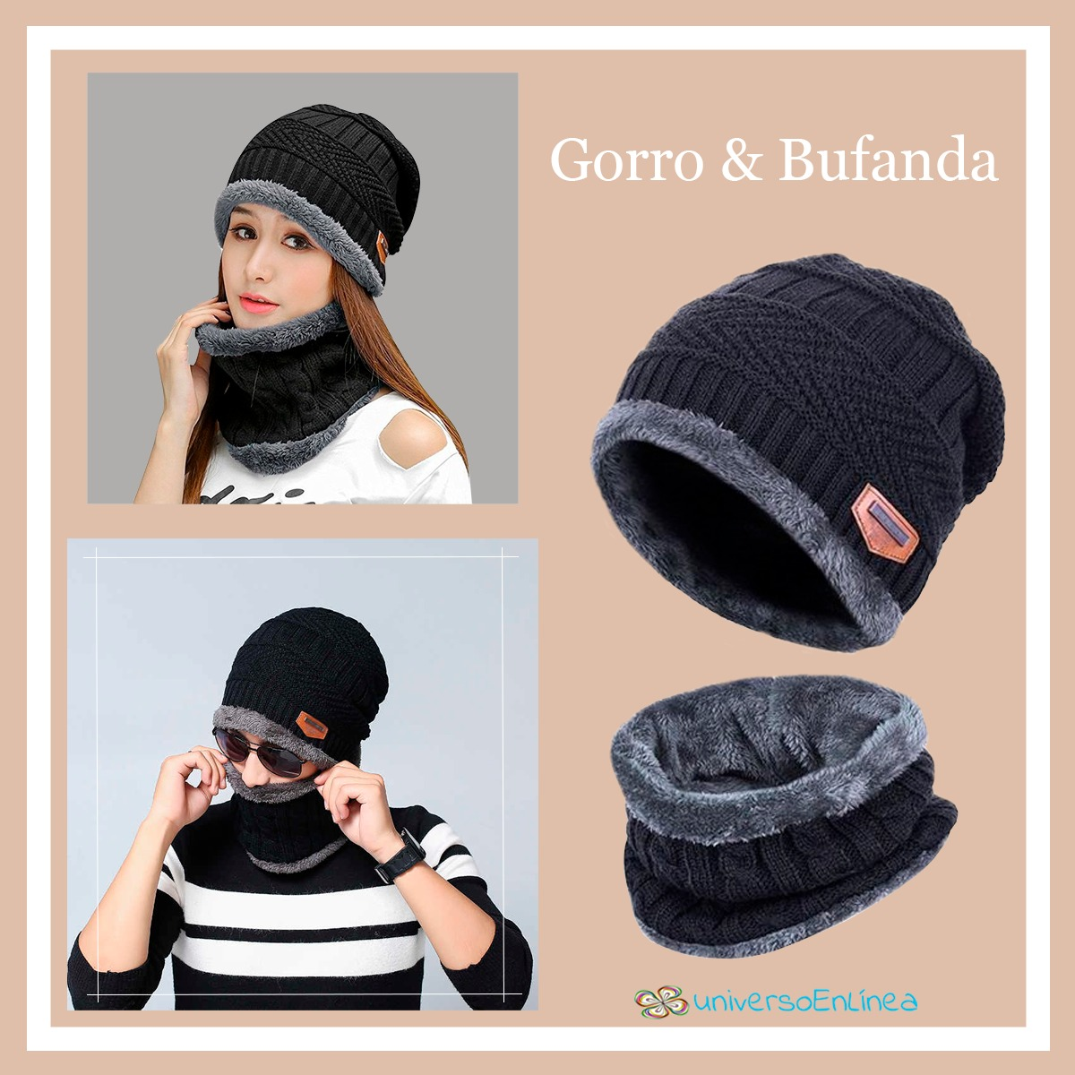 Conjunto De Gorro Bufanda Frío Unisex