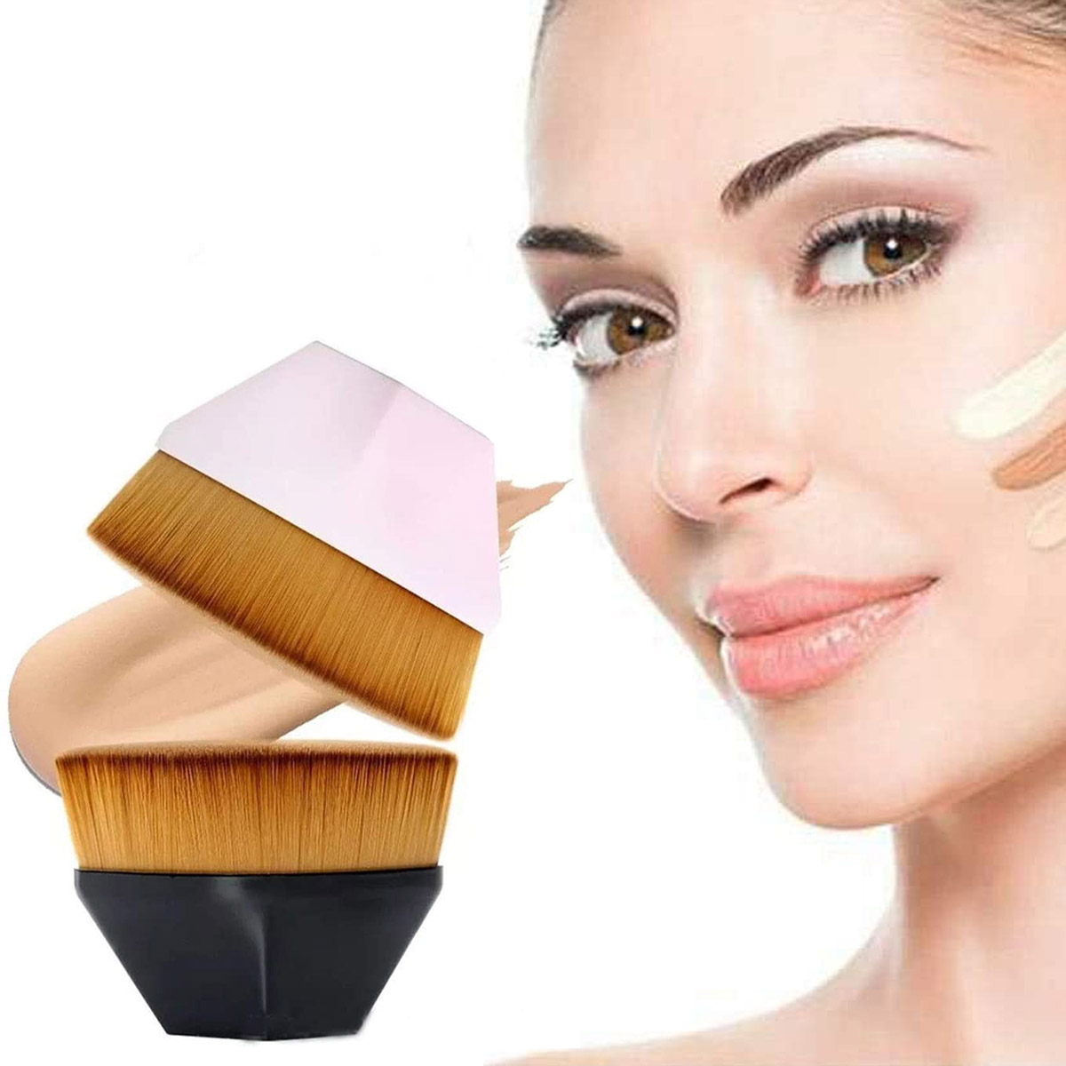Brocha Plana De Maquillaje Kabuki Para Base Corrector