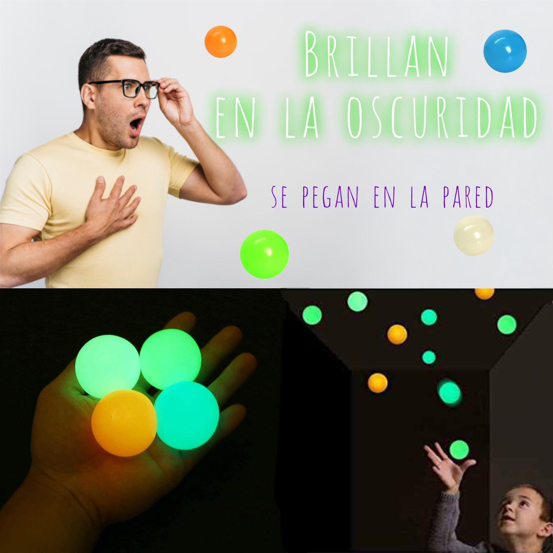 4 Pelotas Bola Pegajosa Pared Techo Fluorescente Anti-estrés