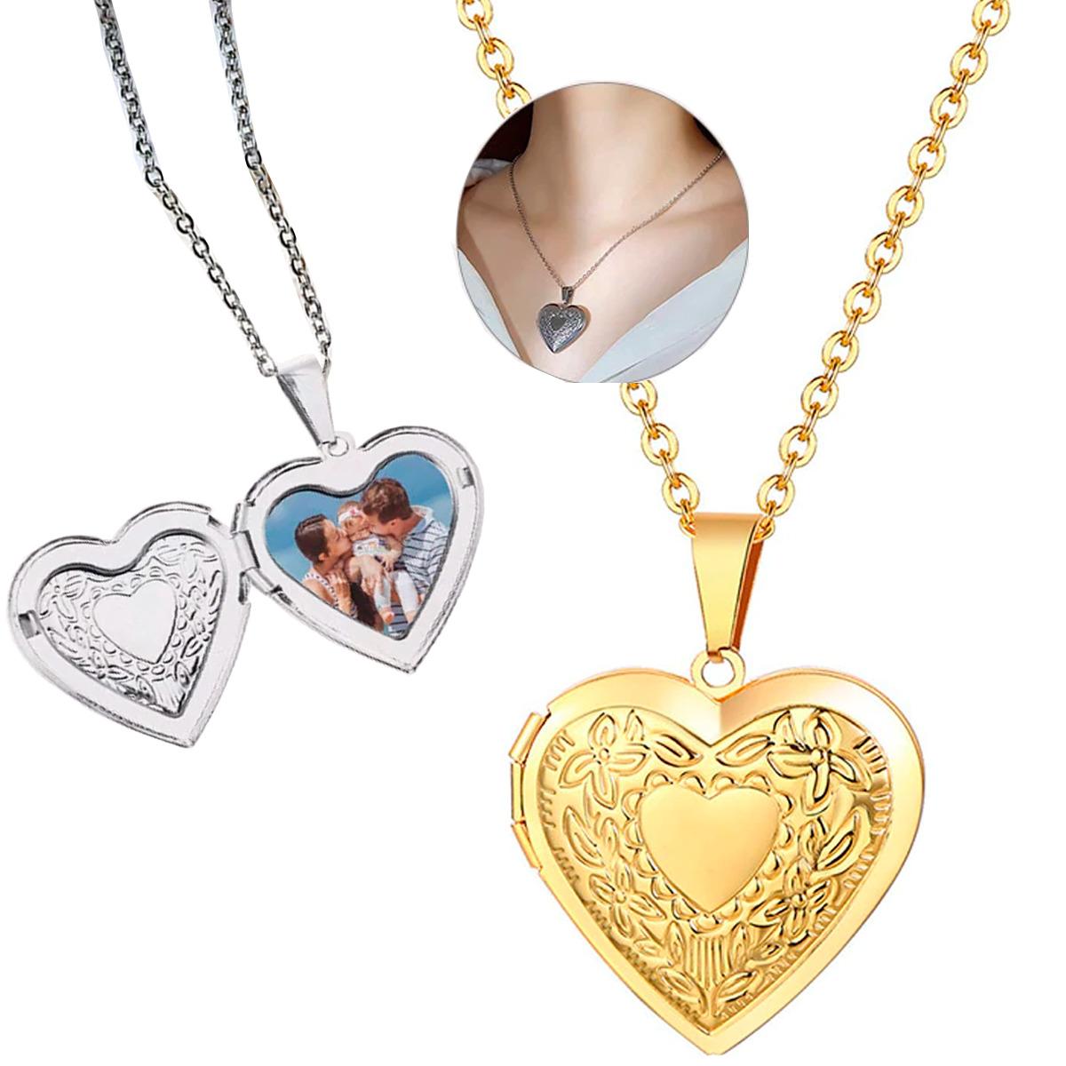 Relicario Corazón Med Collar Fotos Dama Regalo Acero Inox