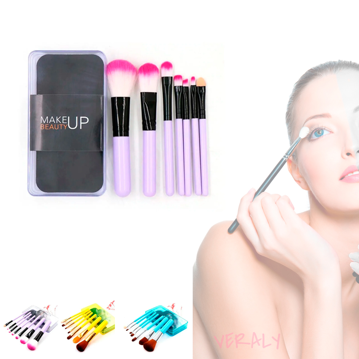 Set De Brochas De Maquillaje 7 Make Up Azul, Rosa, Otras