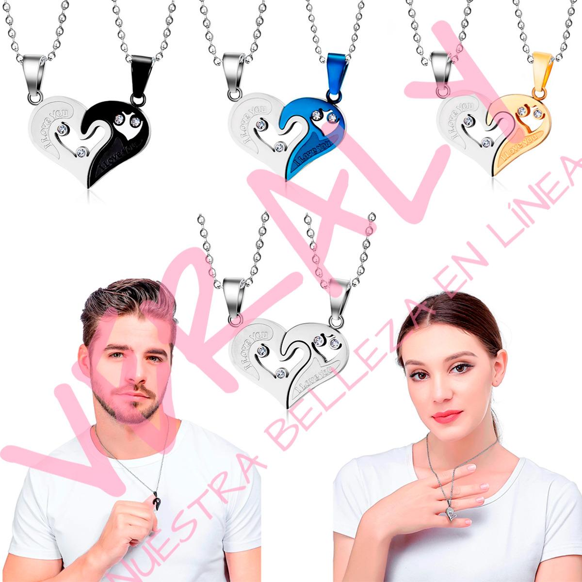 Collar 2 Mitades I Love You Corazón Para Parejas